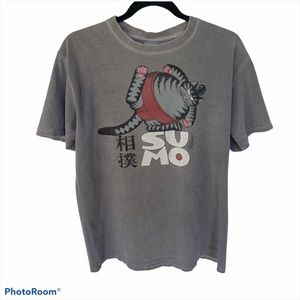 Sumo Cat Crater Dyed Cotton Tee Gray Unisex M